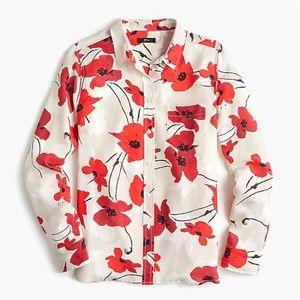 J.Crew Classic-fit boy shirt in silk poppy print